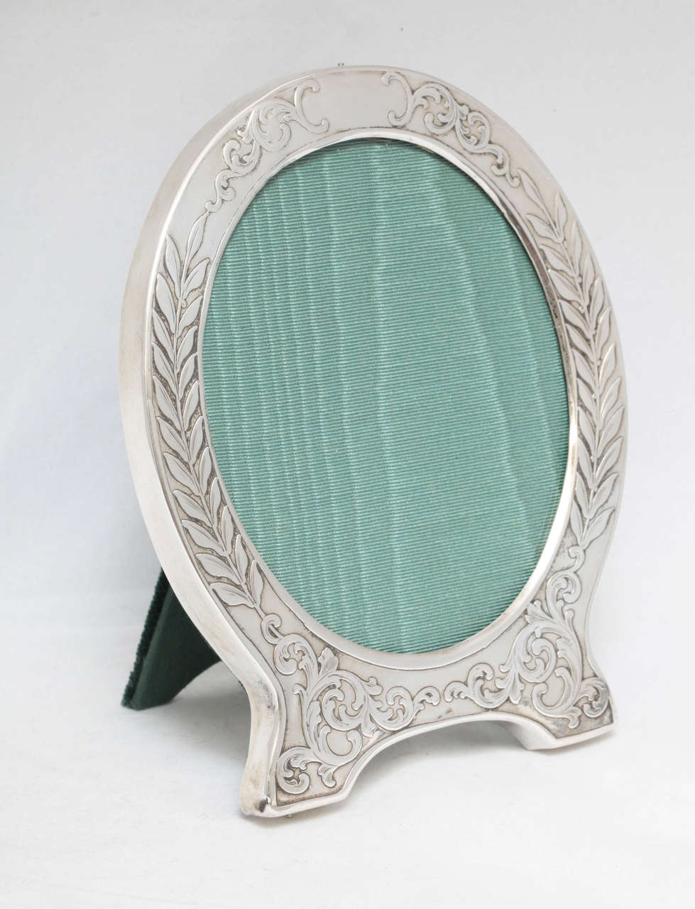 "American Victorian Sterling Silver ""Acid-Etched"" Footed Picture Frame For Sale"