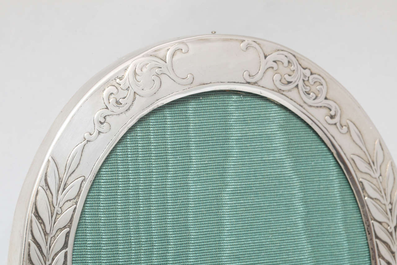 "Late 19th Century Victorian Sterling Silver ""Acid-Etched"" Footed Picture Frame For Sale"
