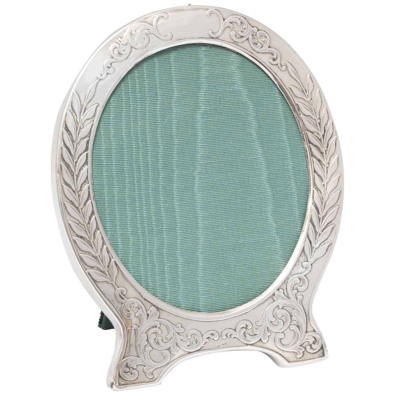 "Victorian Sterling Silver ""Acid-Etched"" Footed Picture Frame For Sale"
