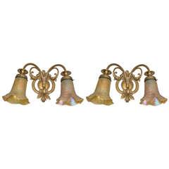 Pair of Art Nouveau Gilt Bronze Sconces with Handblown Period Shades