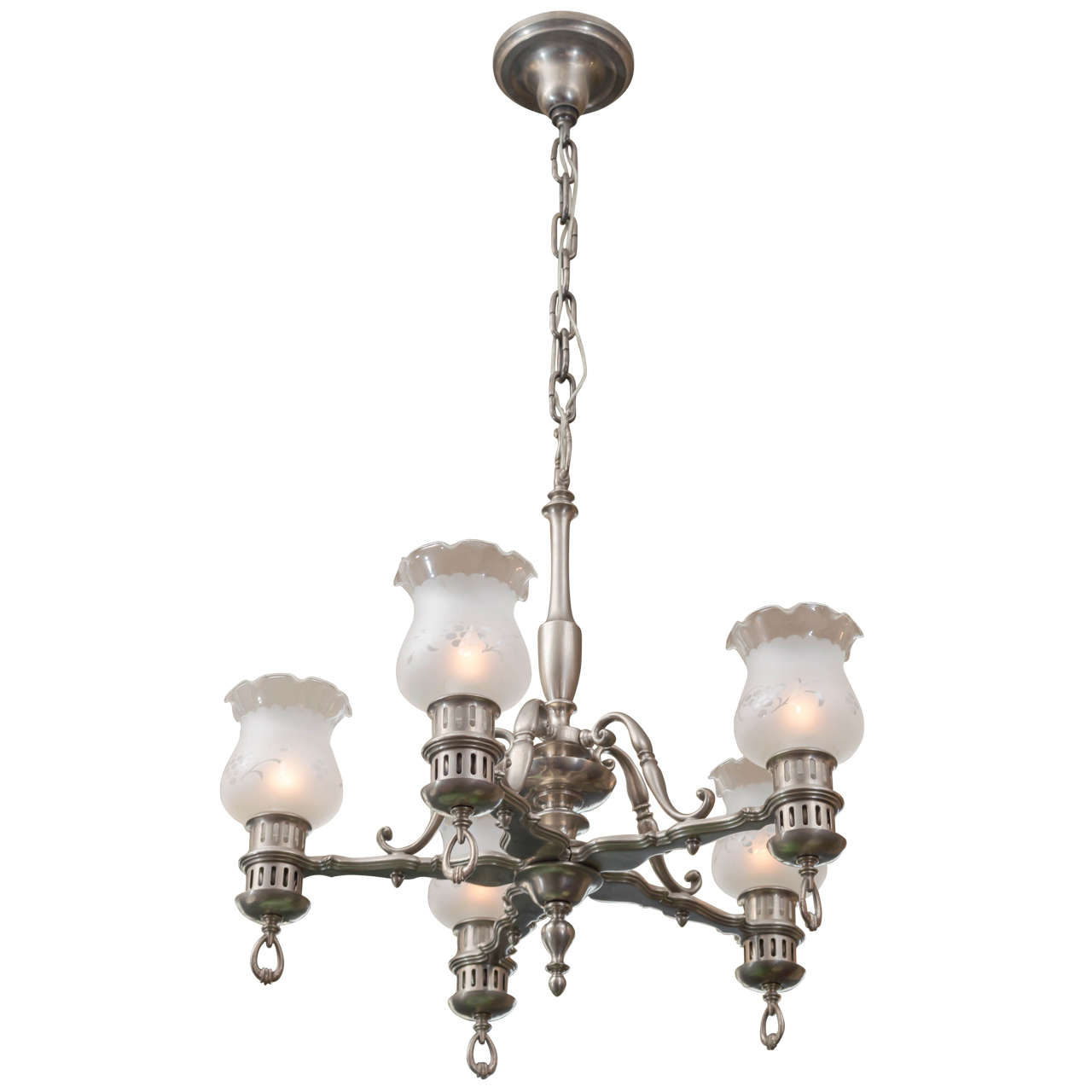 Five arm brushed nickel chandelier colonial style for sale at 1stdibs five arm brushed nickel chandelier colonial style for sale aloadofball Image collections