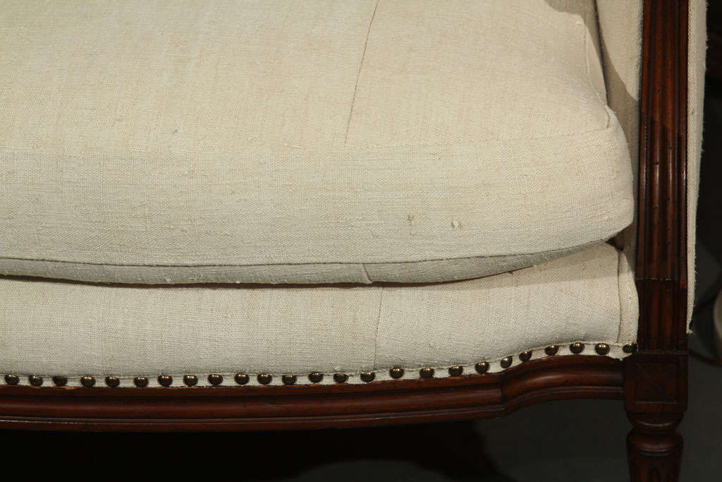 Unknown French Linen Loveseat For Sale