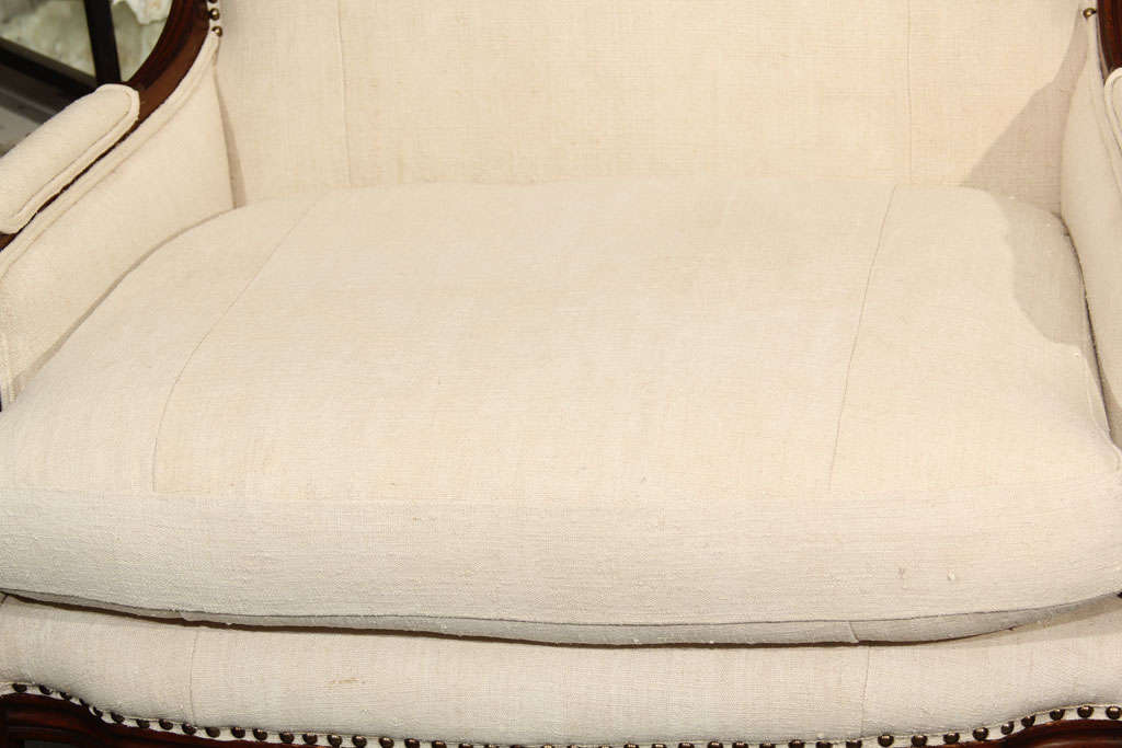 20th Century French Linen Loveseat For Sale