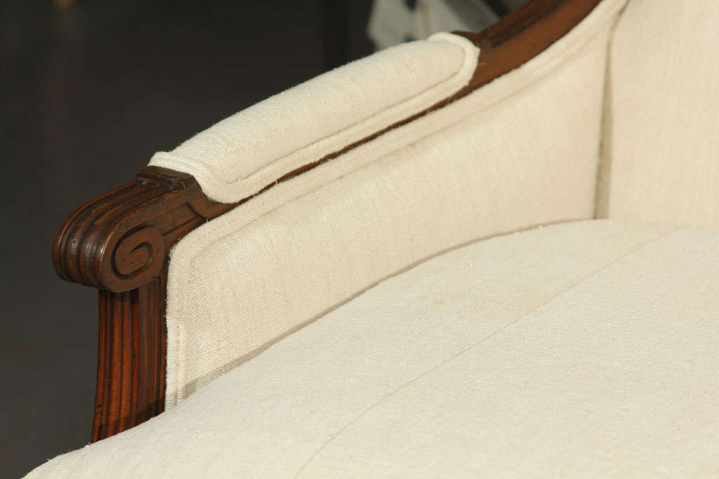 Wood French Linen Loveseat For Sale