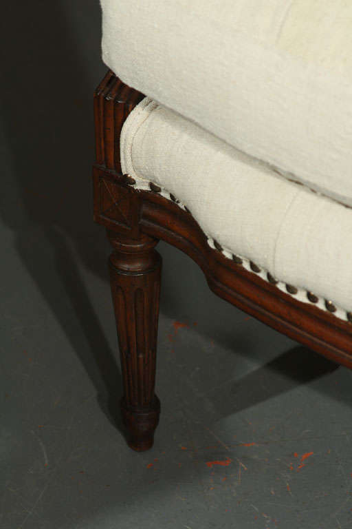 French Linen Loveseat For Sale 1