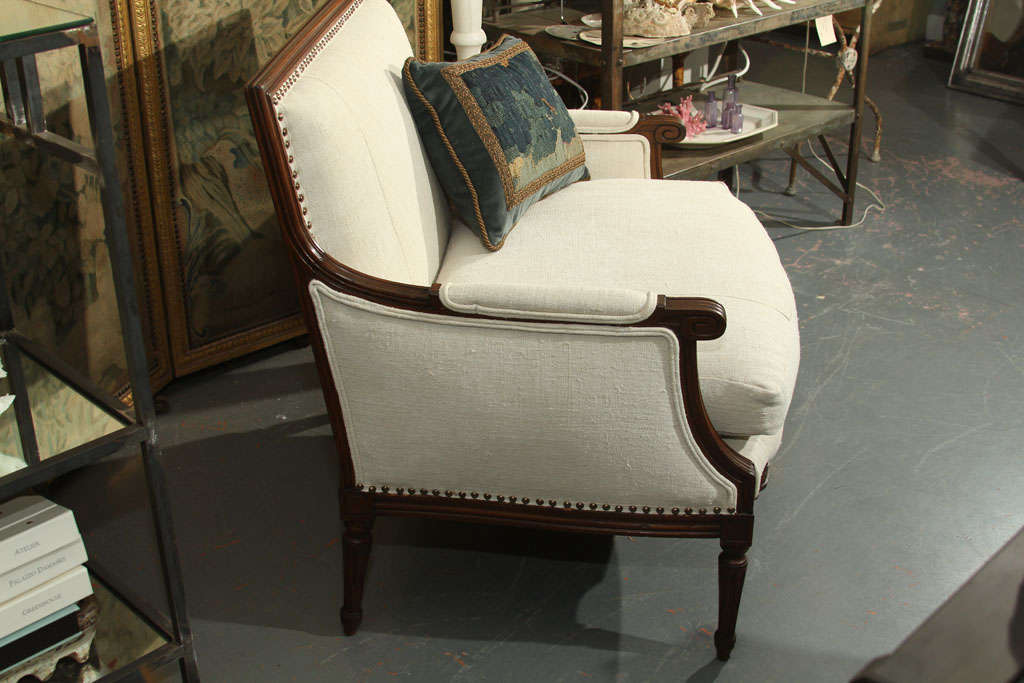 French Linen Loveseat For Sale 3