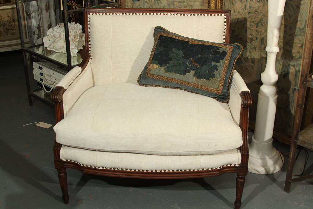 French Linen Loveseat For Sale 4