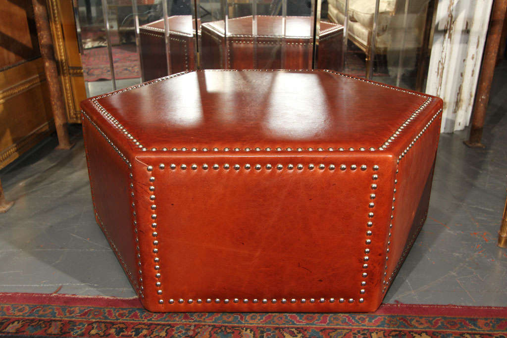 Leather And Nailhead Upholstered Ottoman Coffee Table At 1stdibs