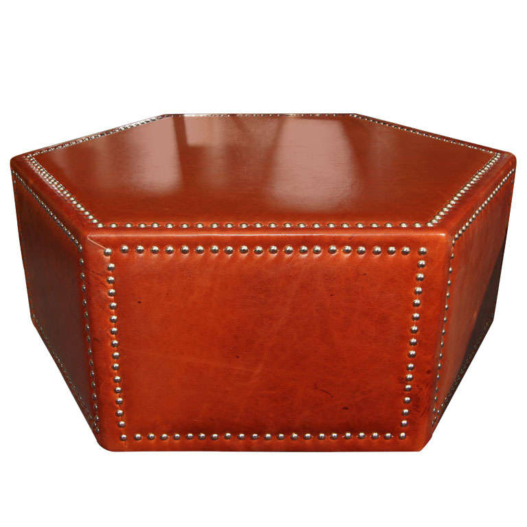 leather and nailhead upholstered ottoman/coffee table at 1stdibs