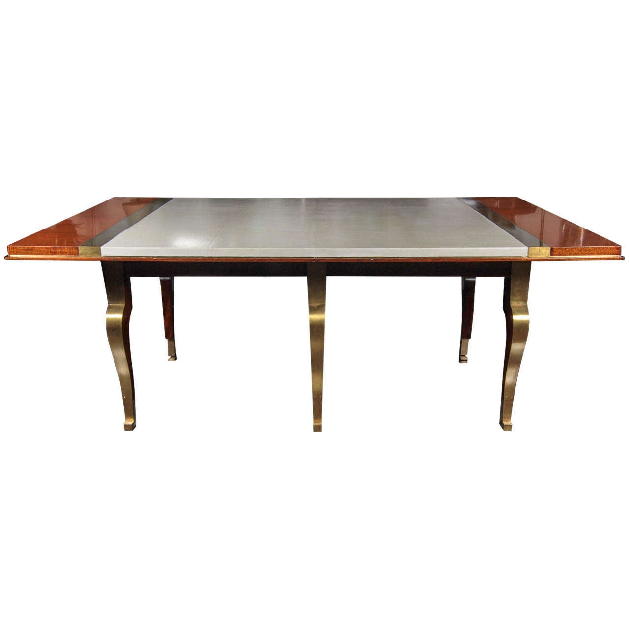Palisandre parchment and bronze dining table france