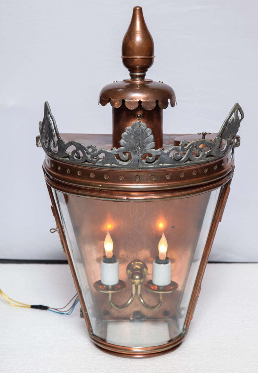 Bow Fronted Copper Wall Lantern For Sale at 1stdibs