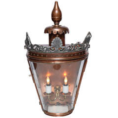 Bow Fronted Copper Wall Lantern