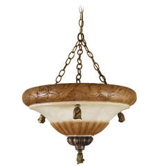 A Carved Alabaster and Silvered Bronze Bowl Fixture