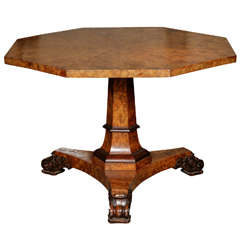 A George IV Burr and Figured Oak Center Table Attributed to Gillows