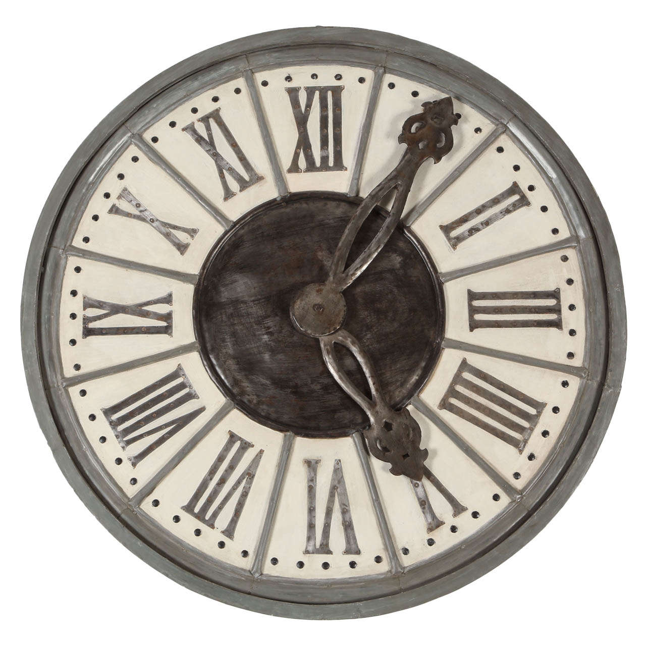 Large Contemporary Wall Clock In Iron And Mango Wood At