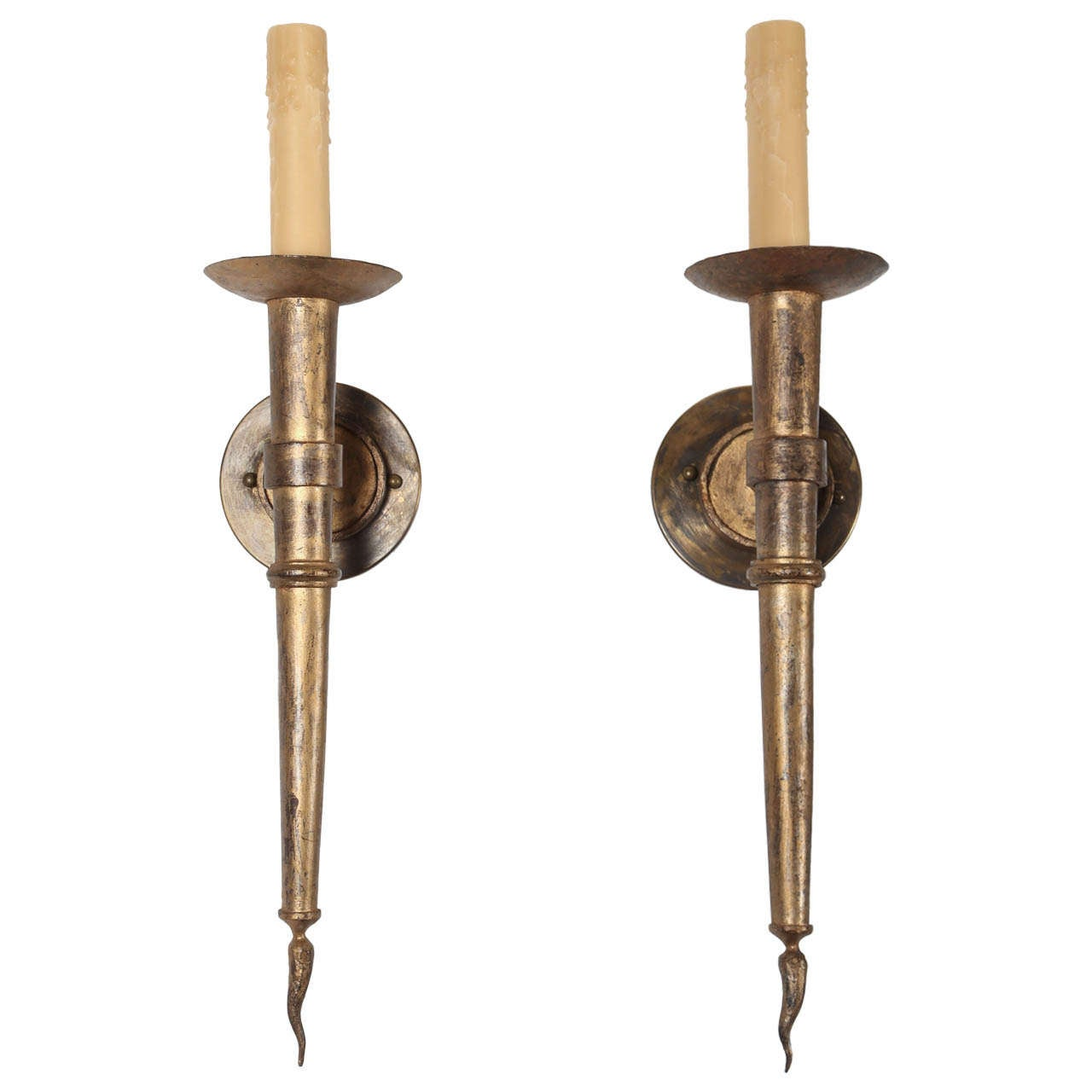 1940s French Gilded Iron Sconces