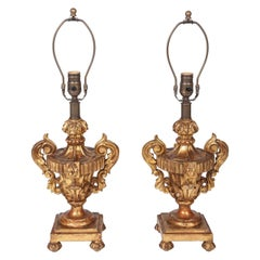Pair of Early 20th Century Italian Giltwood Urn Lamps