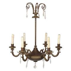 Maison Jansen Empire Style Bronze Six-Light Chandelier
