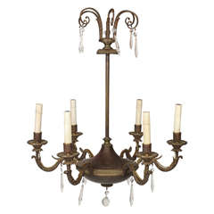 Maison Jansen Empire Style Bronze Six-Light Chandelier