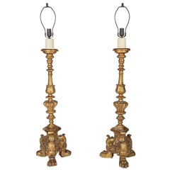 Pair of Renaissance Style Giltwood Pricket Lamps
