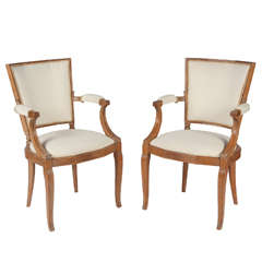 Pair of 1940s French Oak Armchairs