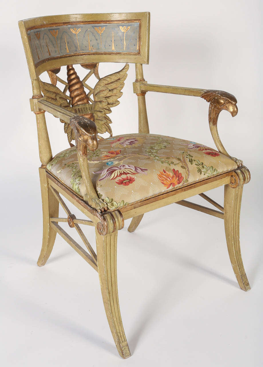 Italian Painted and Parcel-Gilt 'Klismos' Armchair For Sale