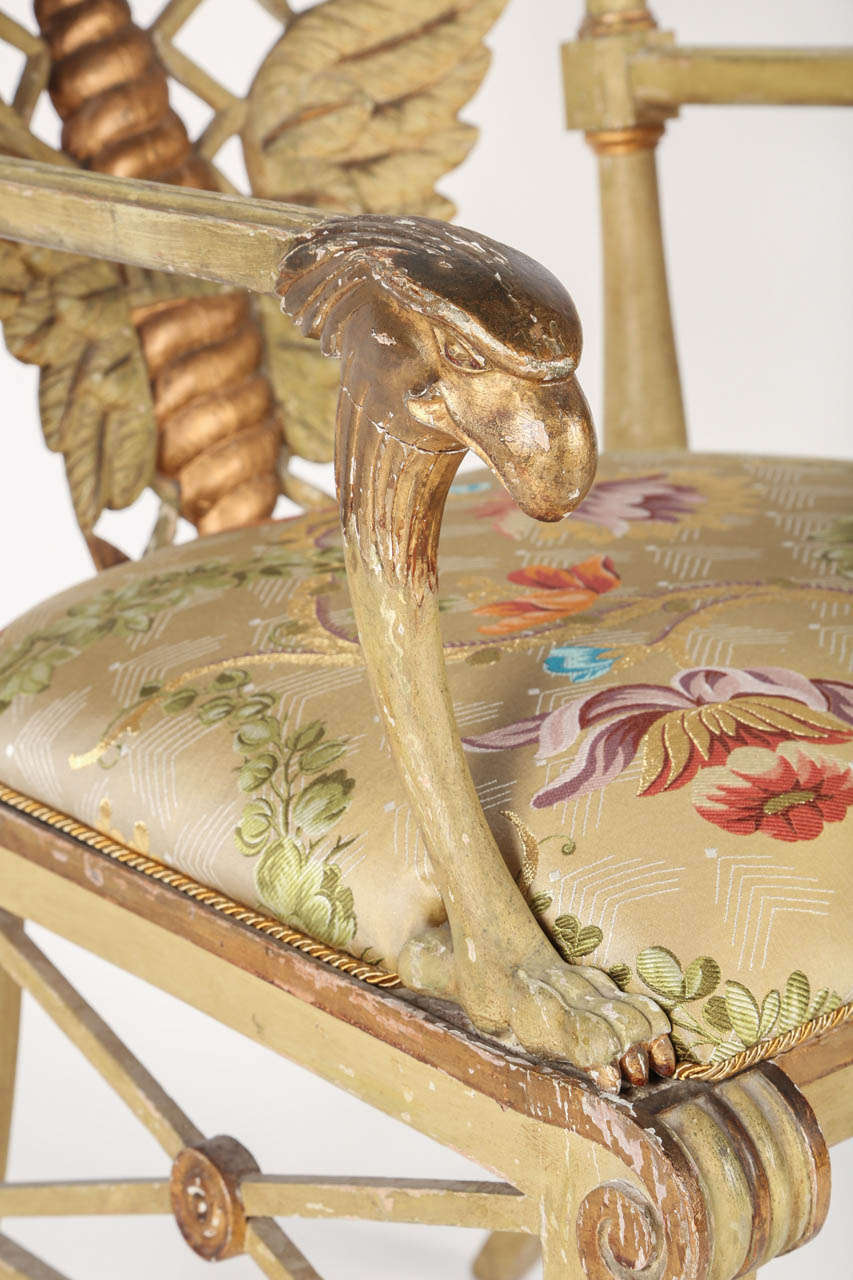 Painted and Parcel-Gilt 'Klismos' Armchair In Good Condition For Sale In Santa Fe, CA