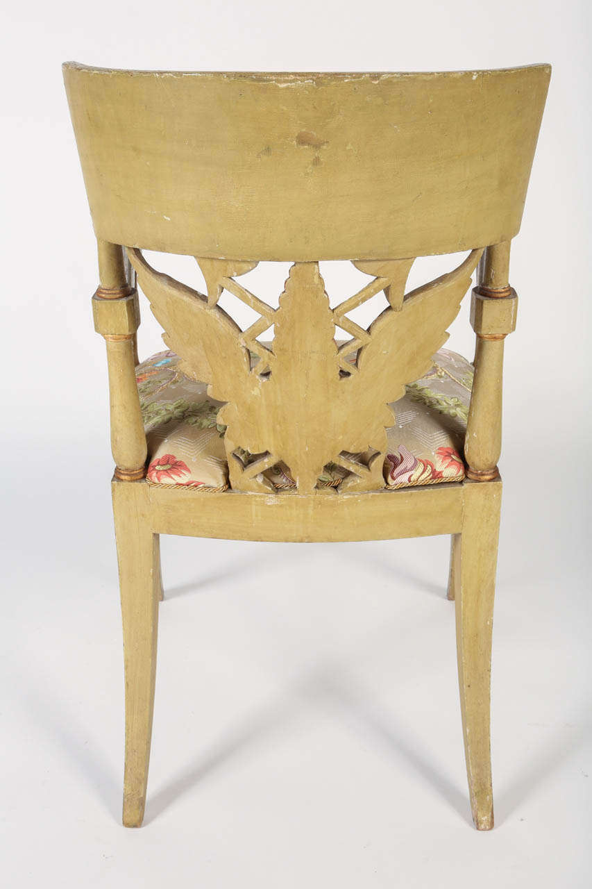 Silk Painted and Parcel-Gilt 'Klismos' Armchair For Sale