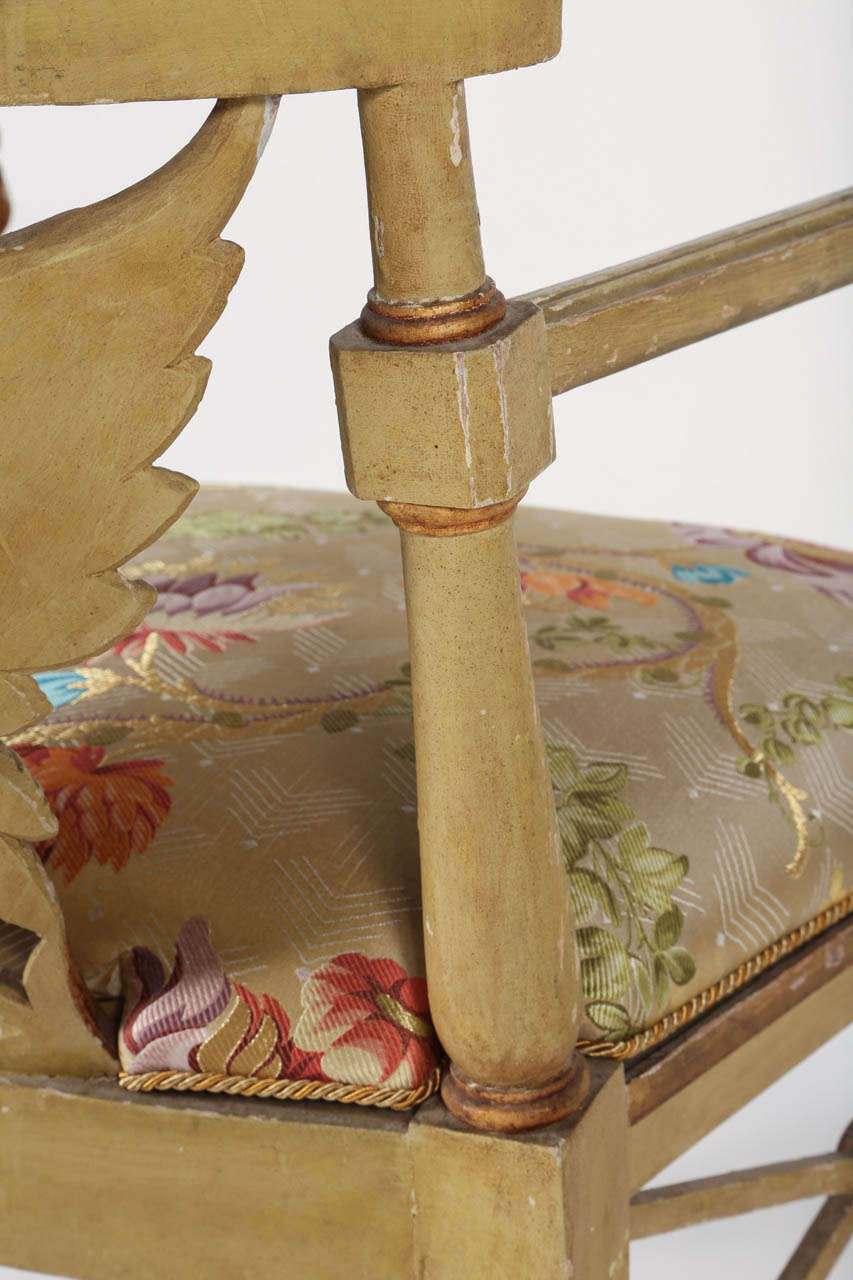 Painted and Parcel-Gilt 'Klismos' Armchair For Sale 2