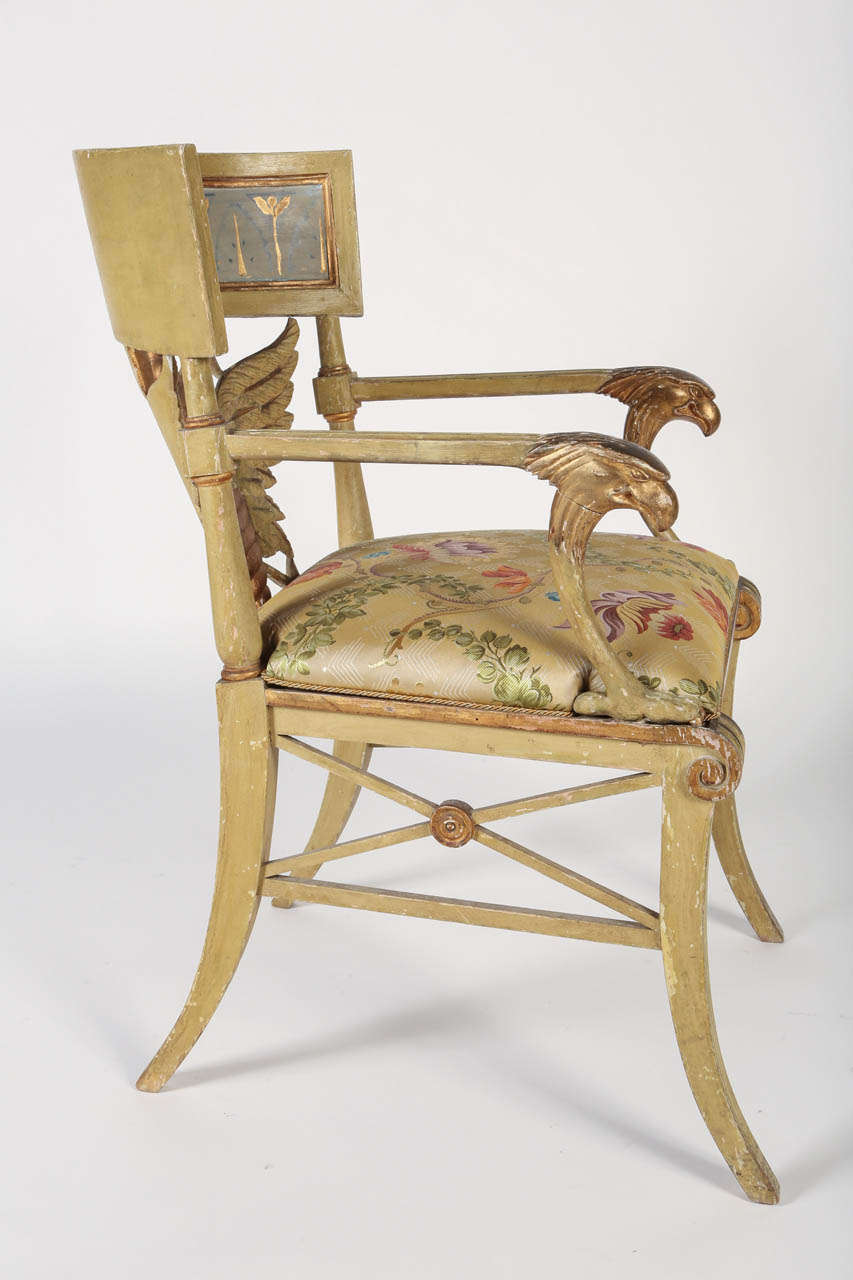 Painted and Parcel-Gilt 'Klismos' Armchair For Sale 3