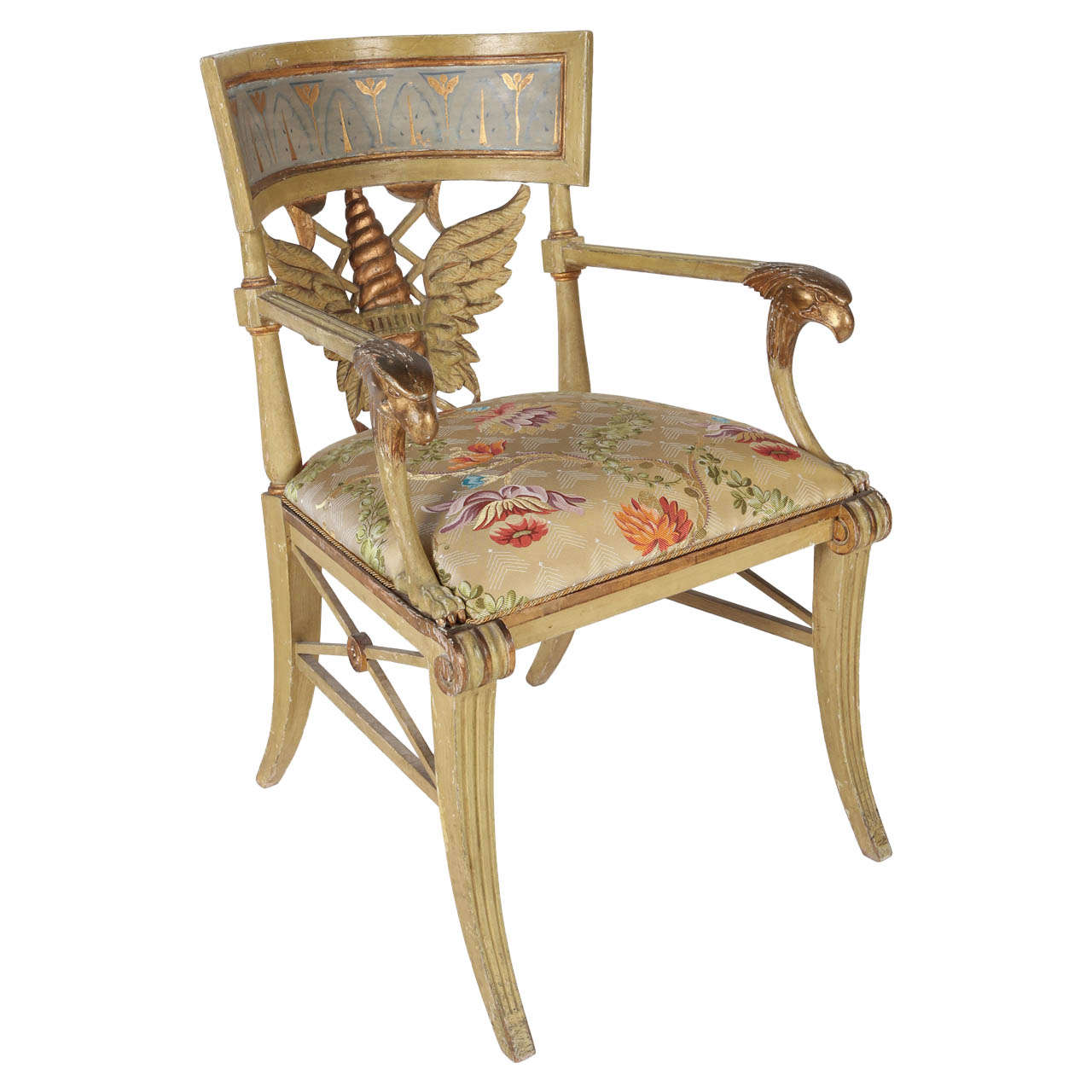 Painted and Parcel-Gilt 'Klismos' Armchair For Sale