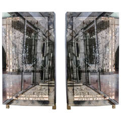 Unusual Pair of Illuminated Mirrors with Etched Glass