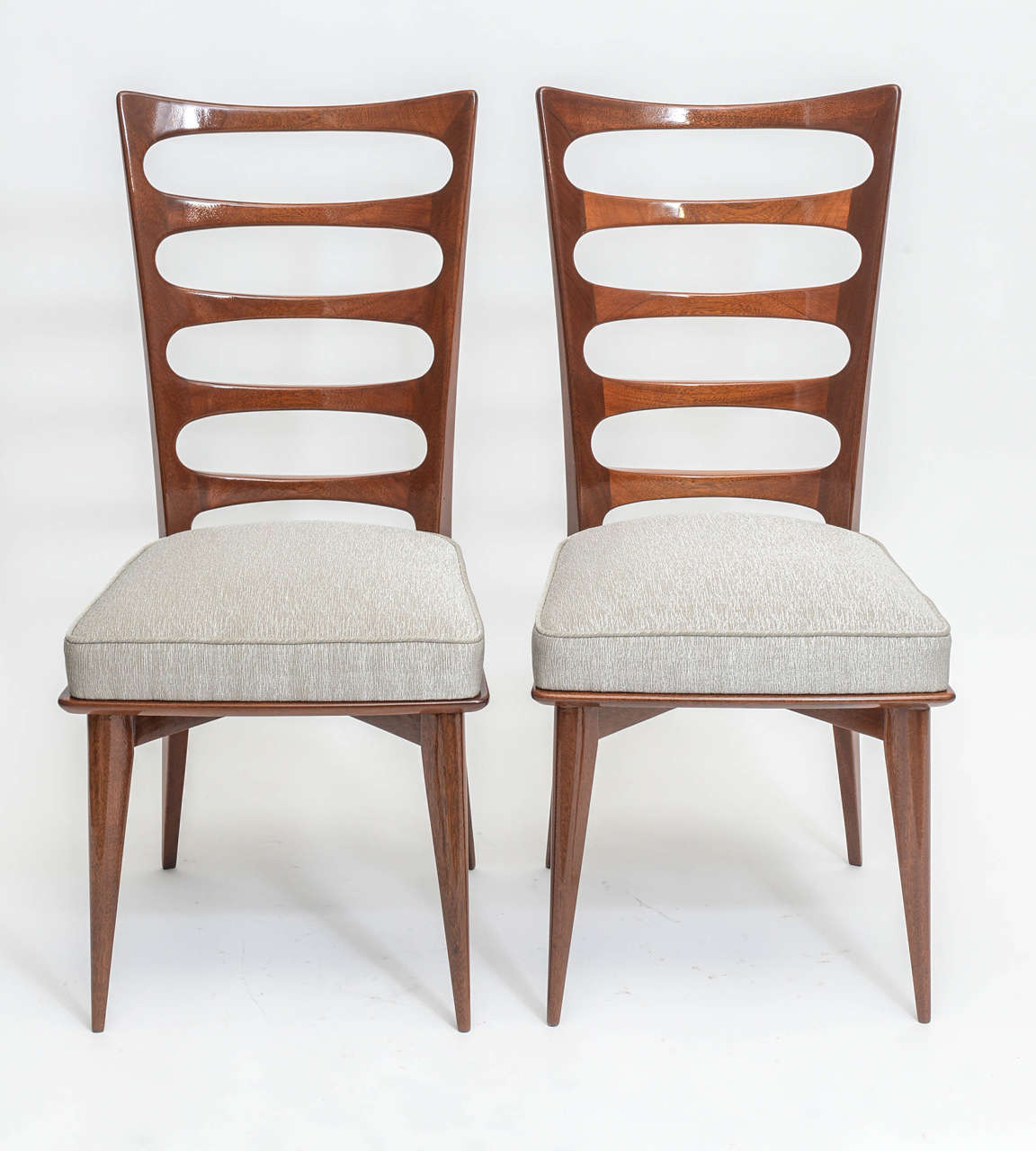Rare Set Of Ten Italian Modern Mahogany Dining Chairs Paolo Buffa 2