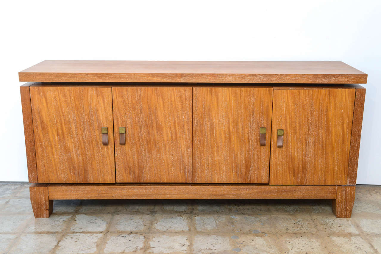 French Modern Cerused Oak and Leather Four-Door Credenza, Style of Jacques Adnet 2