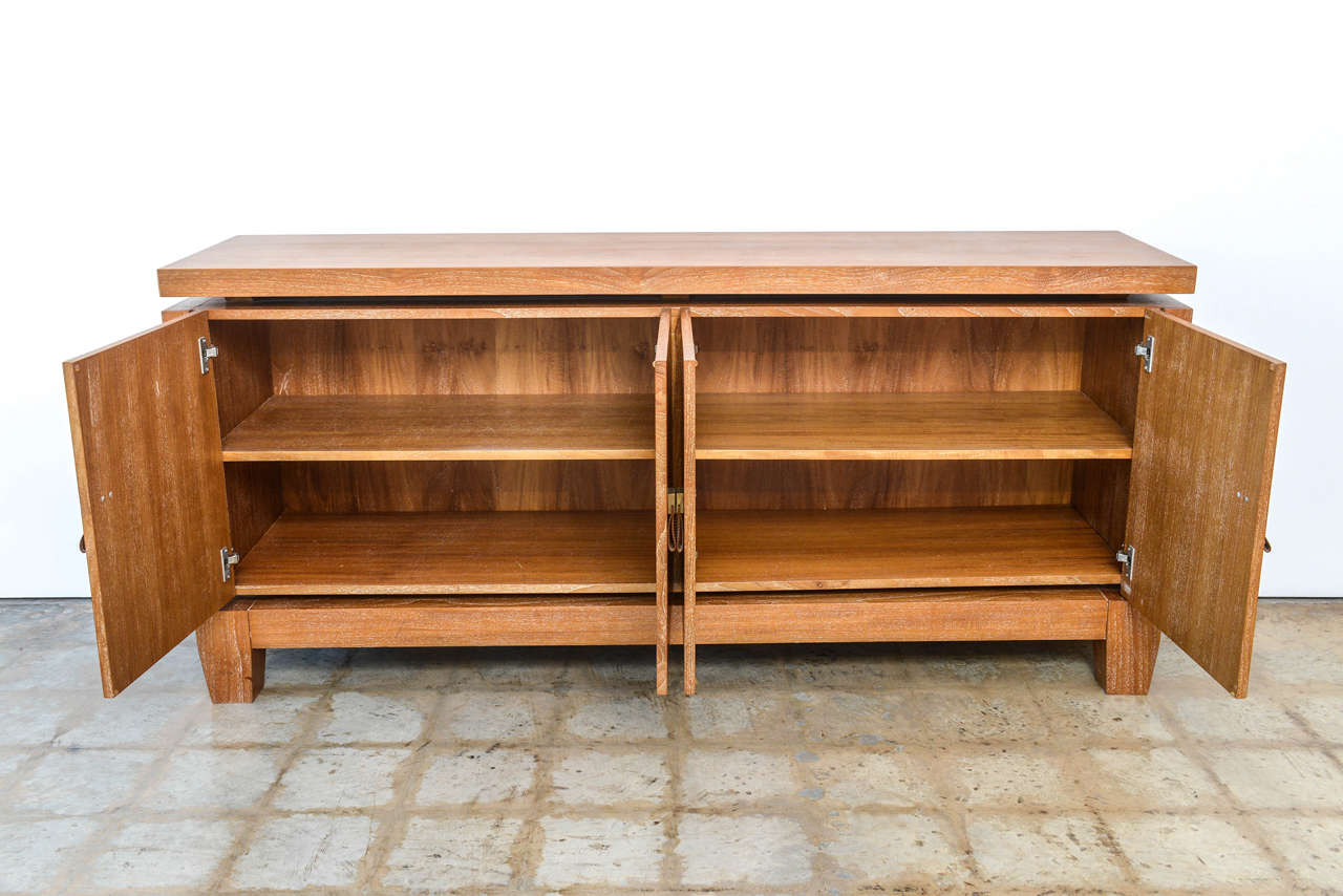 French Modern Cerused Oak and Leather Four-Door Credenza, Style of Jacques Adnet 3