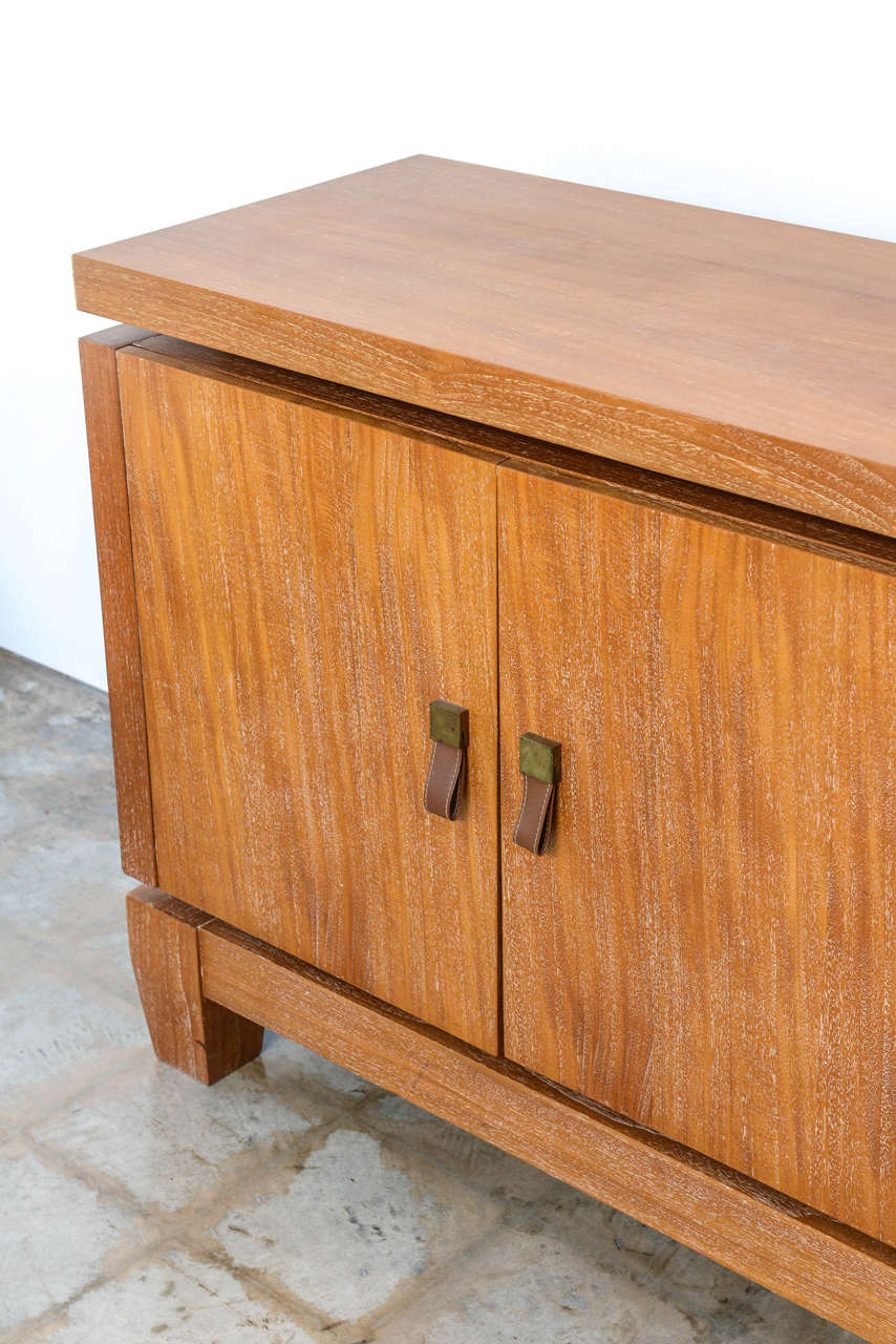 French Modern Cerused Oak and Leather Four-Door Credenza, Style of Jacques Adnet 5