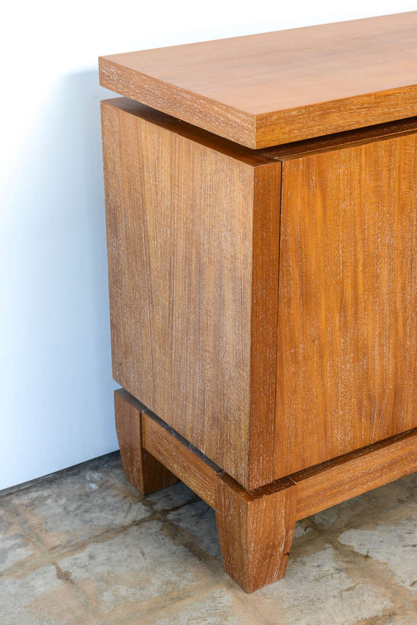 French Modern Cerused Oak and Leather Four-Door Credenza, Style of Jacques Adnet 10