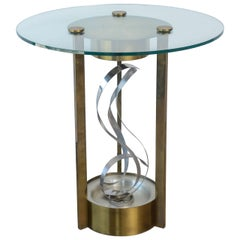American Modern Chrome, Brass and Glass Side Table, Fontana Arte, 1960's