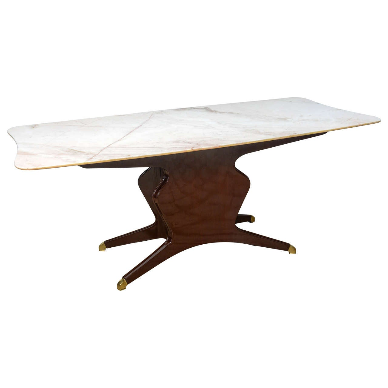 Italian Modern Mahogany, Brass and Onyx-Top Dining or Center Table