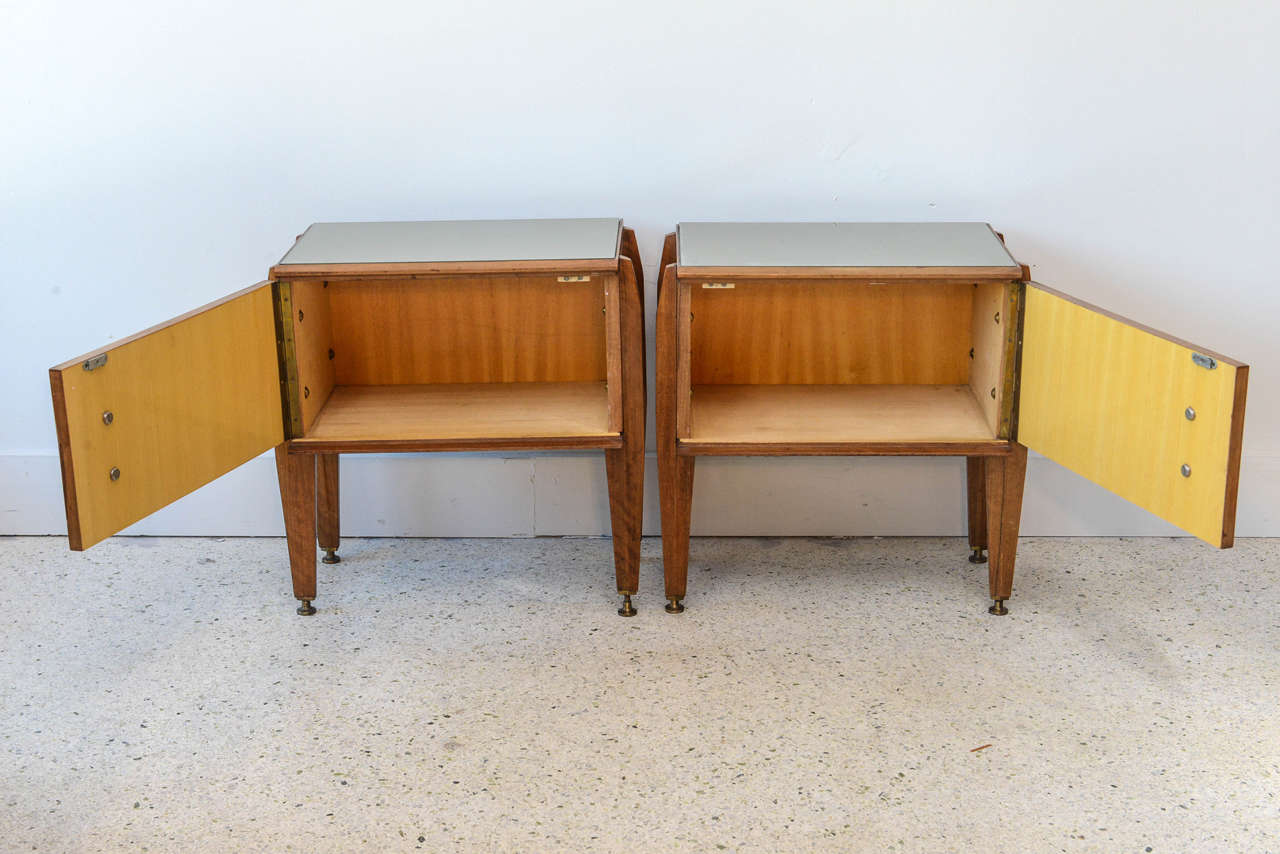 Pair of Italian Modern Inlaid Mixed Wood and Bronze Night Tables, Dassi In Excellent Condition For Sale In Miami, FL