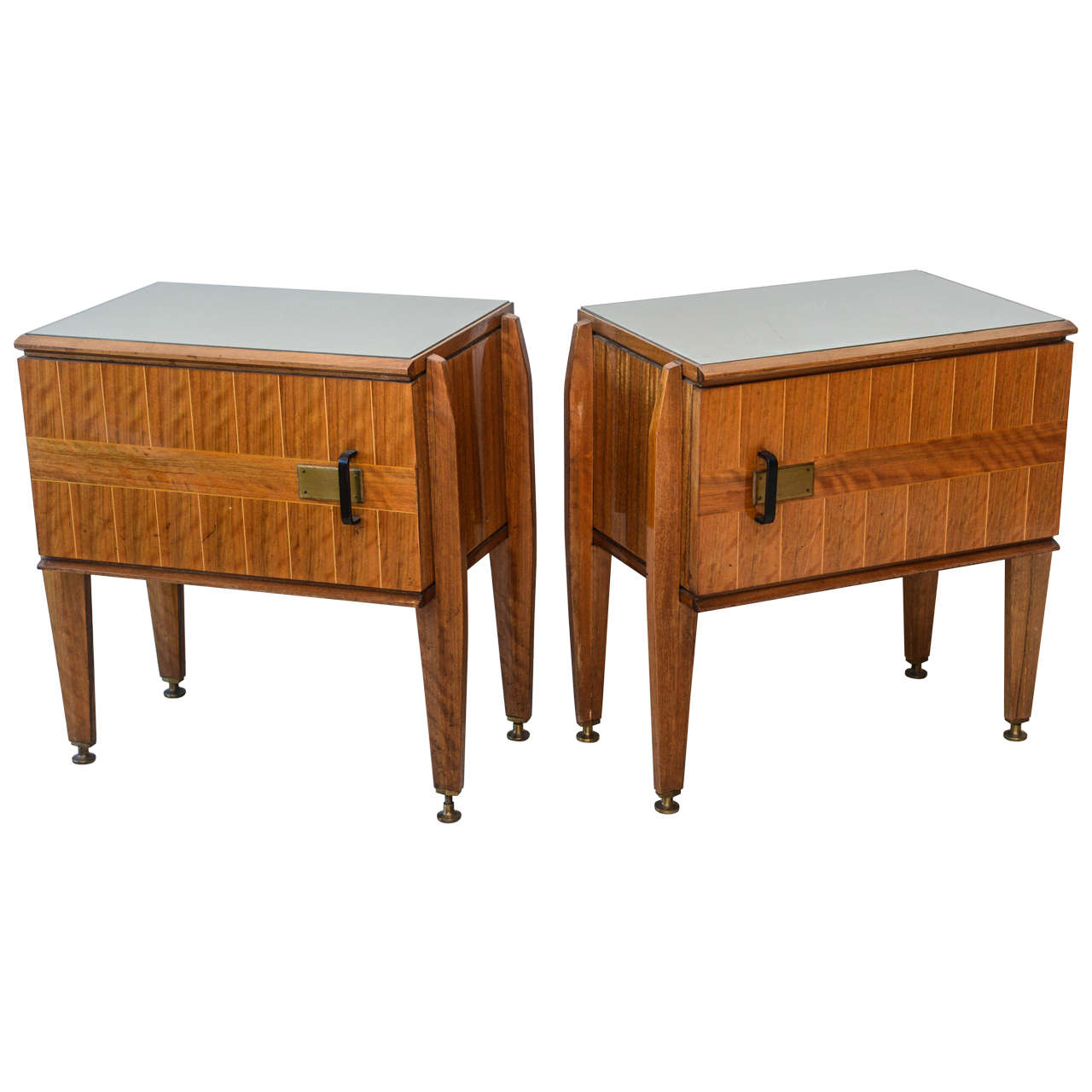 Pair of Italian Modern Inlaid Mixed Wood and Bronze Night Tables, Dassi For Sale