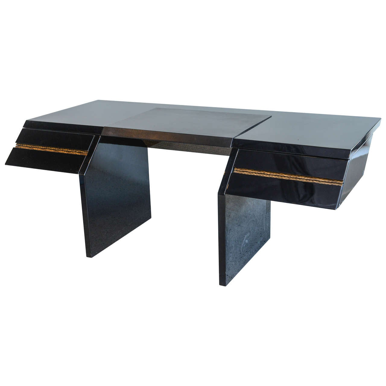 Italian Modern Black Lacquer And Zebrawood Desk Giovanni Offredi For Saporiti