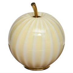 Striped Murano Glass Pumpkin Form Table Lamp with Brass Details