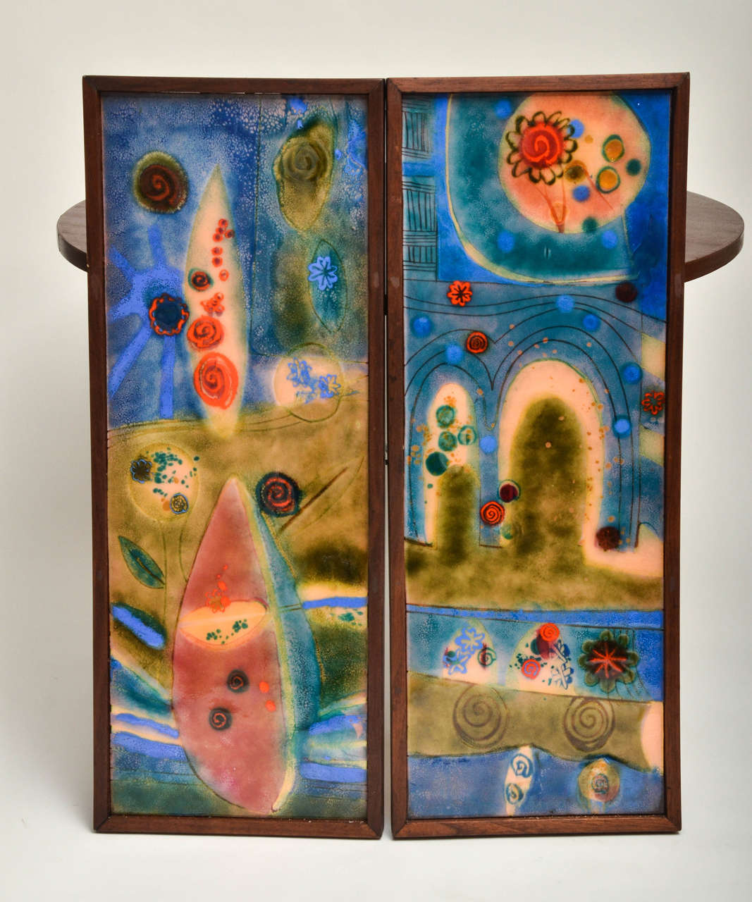 Colorful Pair Of Enamel On Copper Wall Art In Wood Frame.