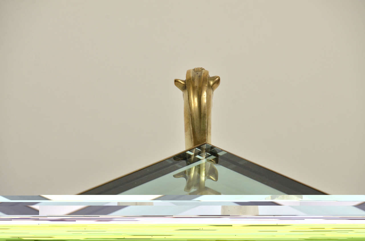 Pair of Curvilinear Brass Side Tables with Horse Head Finials In Excellent Condition For Sale In Bridgehampton, NY