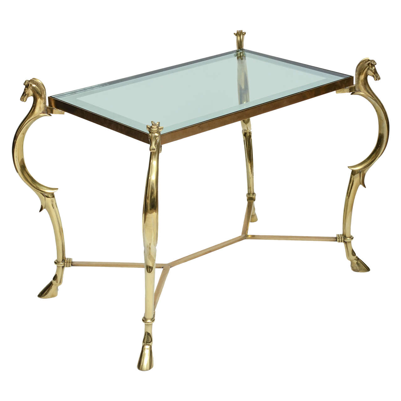 Pair of Curvilinear Brass Side Tables with Horse Head Finials For Sale