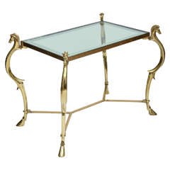 Pair of Curvilinear Brass Side Tables with Horse Head Finials