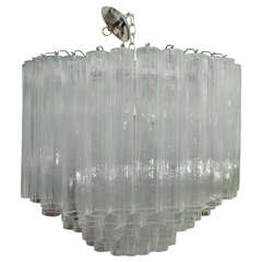Multi-Tier Chandelier Composed of Glass Tubes with Nickel Hardware