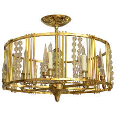 Drum Form Brass Chandelier with Decorative Bead and Prism Details