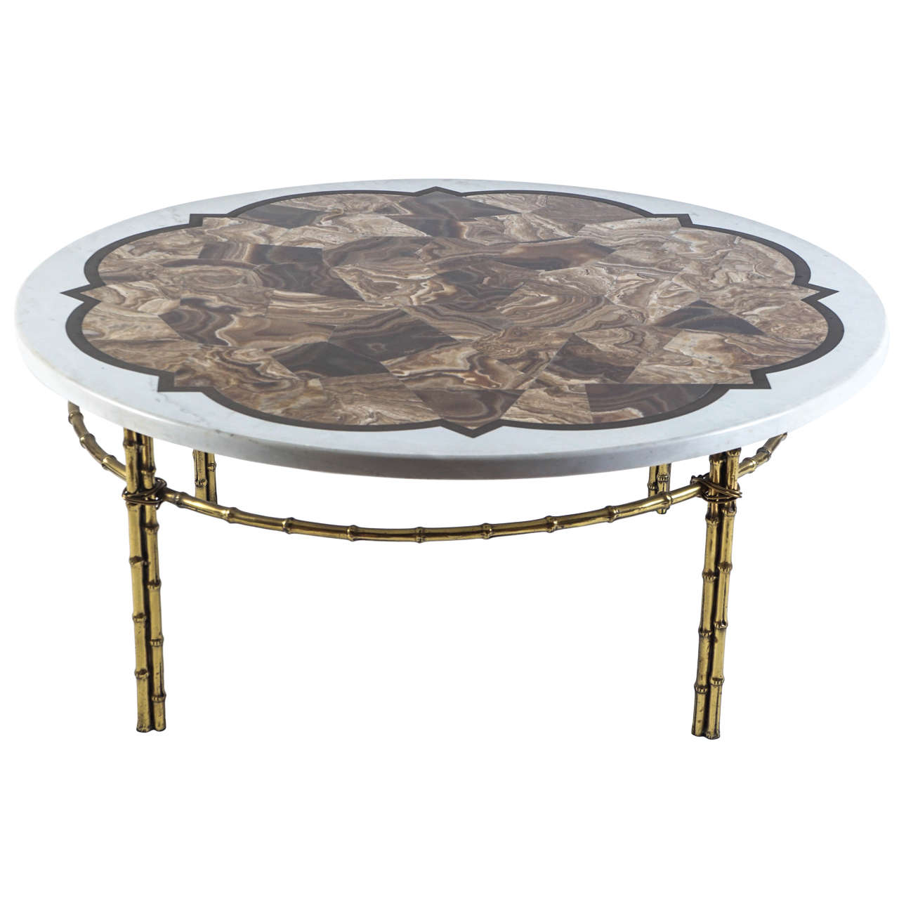 Agate marble and brass round cocktail table at 1stdibs Round marble coffee tables